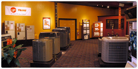 Burgess sales showroom - HVAC products, air conditioners, heat pumps, clean air, furnaces, thermostats.